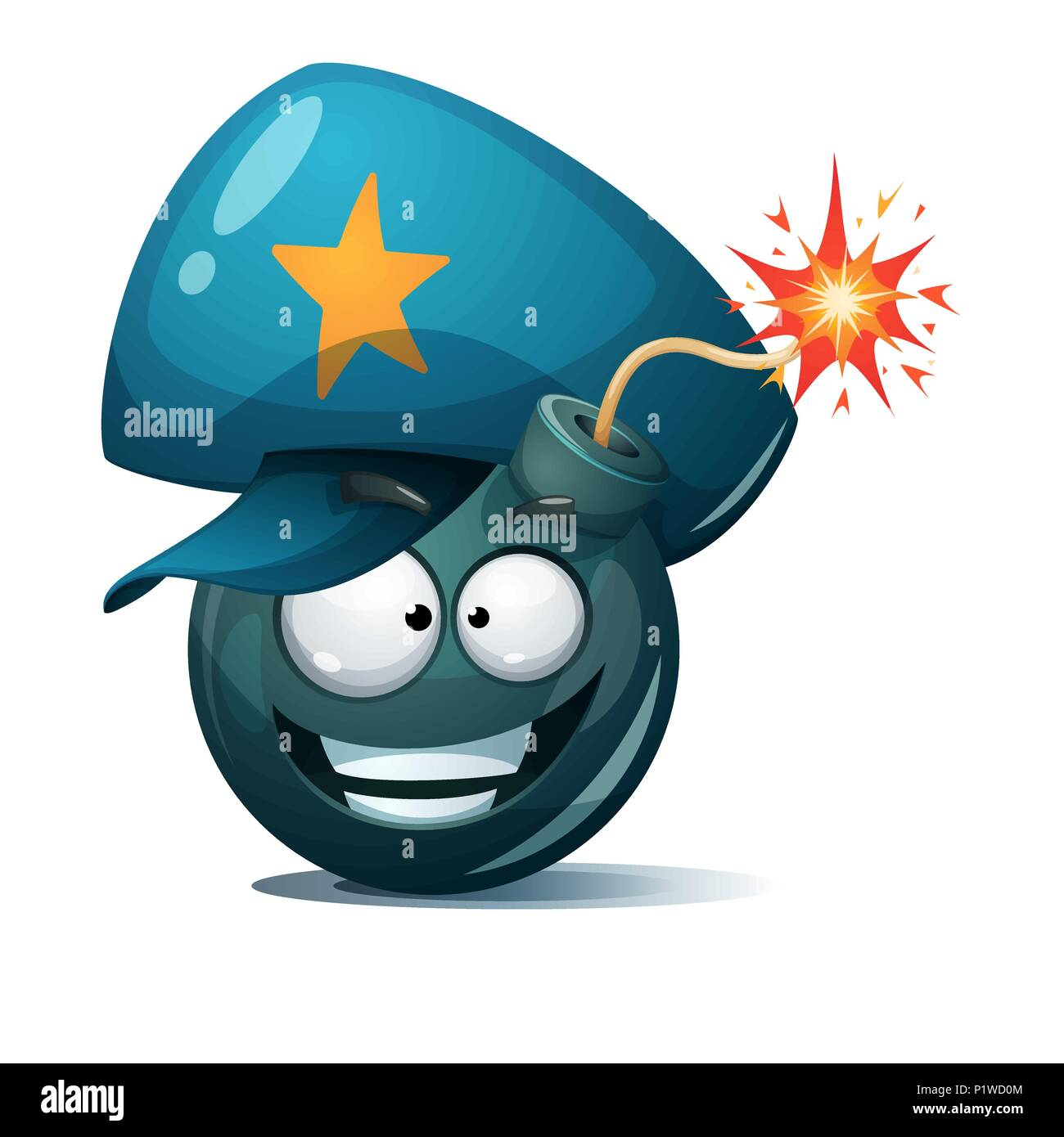 Cartoon bomb, fuse, wick, spark icon. Police smiley. - Stock Image