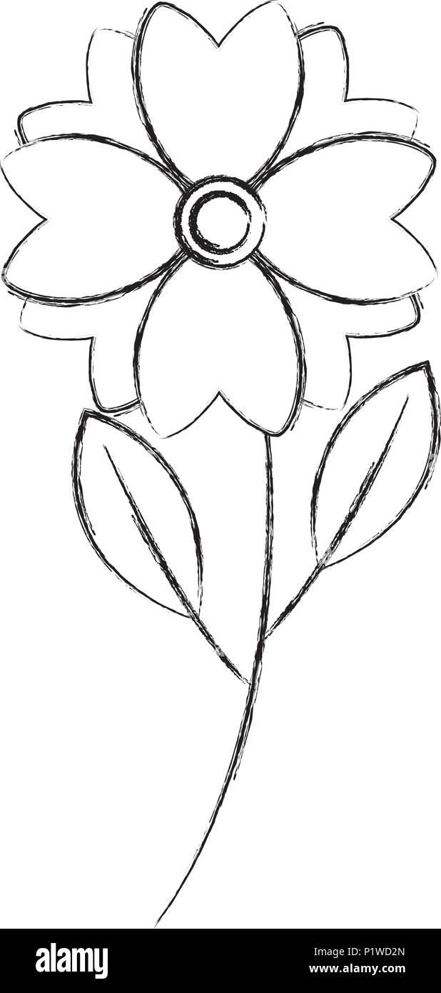 Cute Flower Natural Stem Leaves Image Vector Illustration Sketch Stock Vector Image Art Alamy