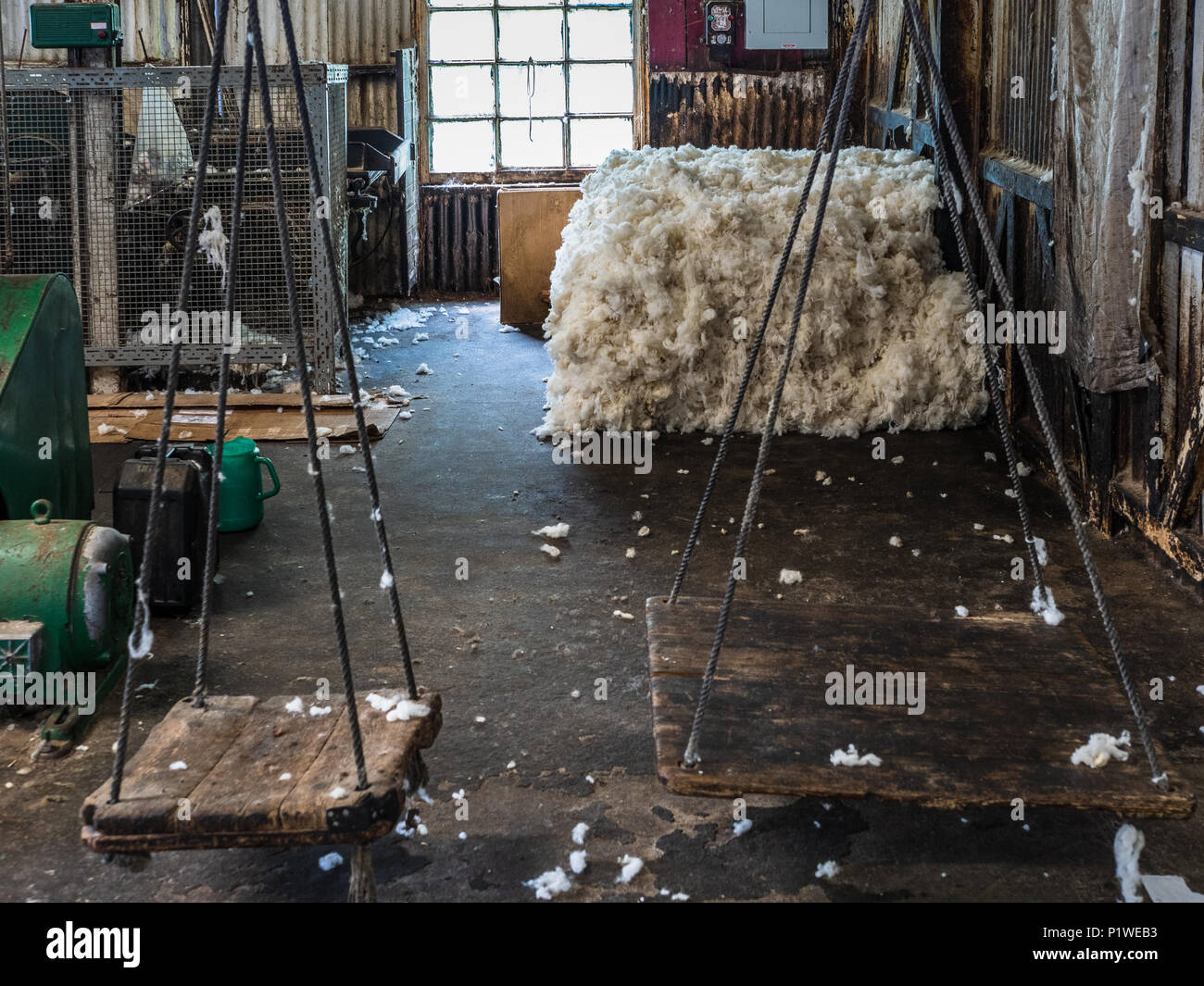 Trefriw Woollen Mills in N.Wales, one of the last remaining woollen mills still in production in Wales. Known for traditional double-weave blankets. - Stock Image
