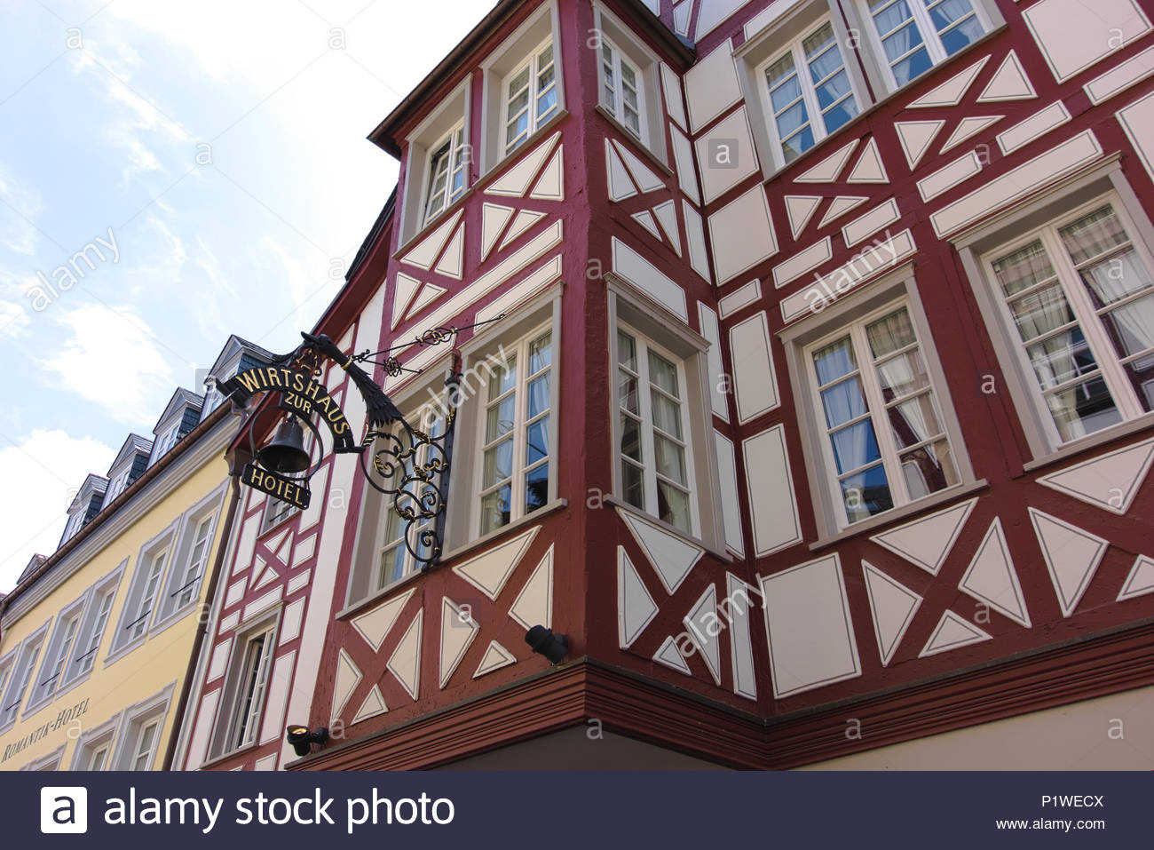 Beautiful half-timbered houses in Trier, Germany. Trier may be the oldest city in Germany. Wunderschöne Fachwerkhäuser in Trier, Deutschland. - Stock Image
