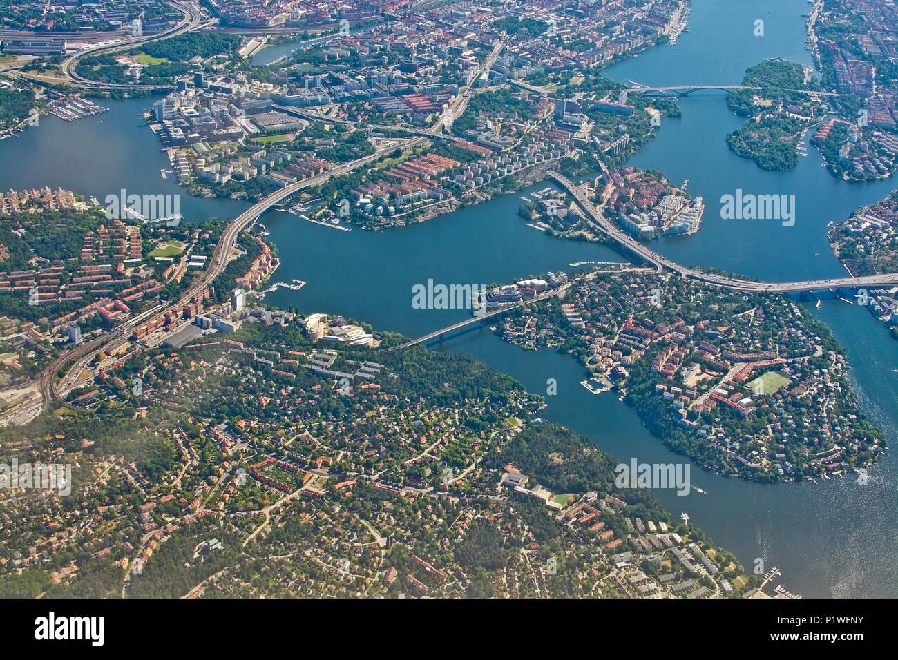 STOCKHOLM, SWEDEN - JUNE 1, 2018: Aerial shot over Stockholm, Essingeleden and Traneberg bridge to Bromma, during inflight to Arlanda airport on a sun Stock Photo