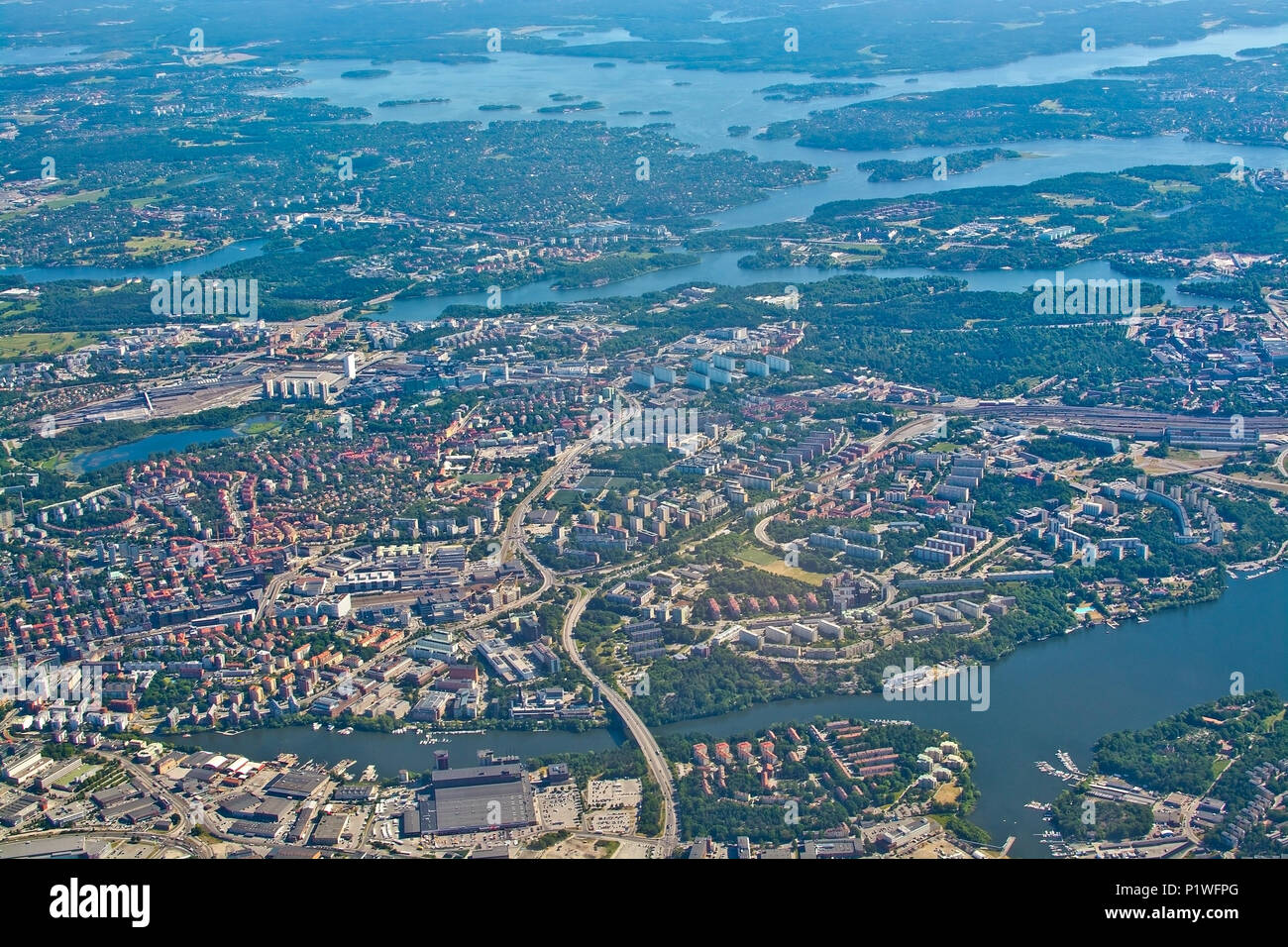 STOCKHOLM, SWEDEN - JUNE 1, 2018: Aerial shot over Solna and Friend's Arena during inflight to Arlanda airport on a sunny day on June 1, 20108 in Stoc Stock Photo