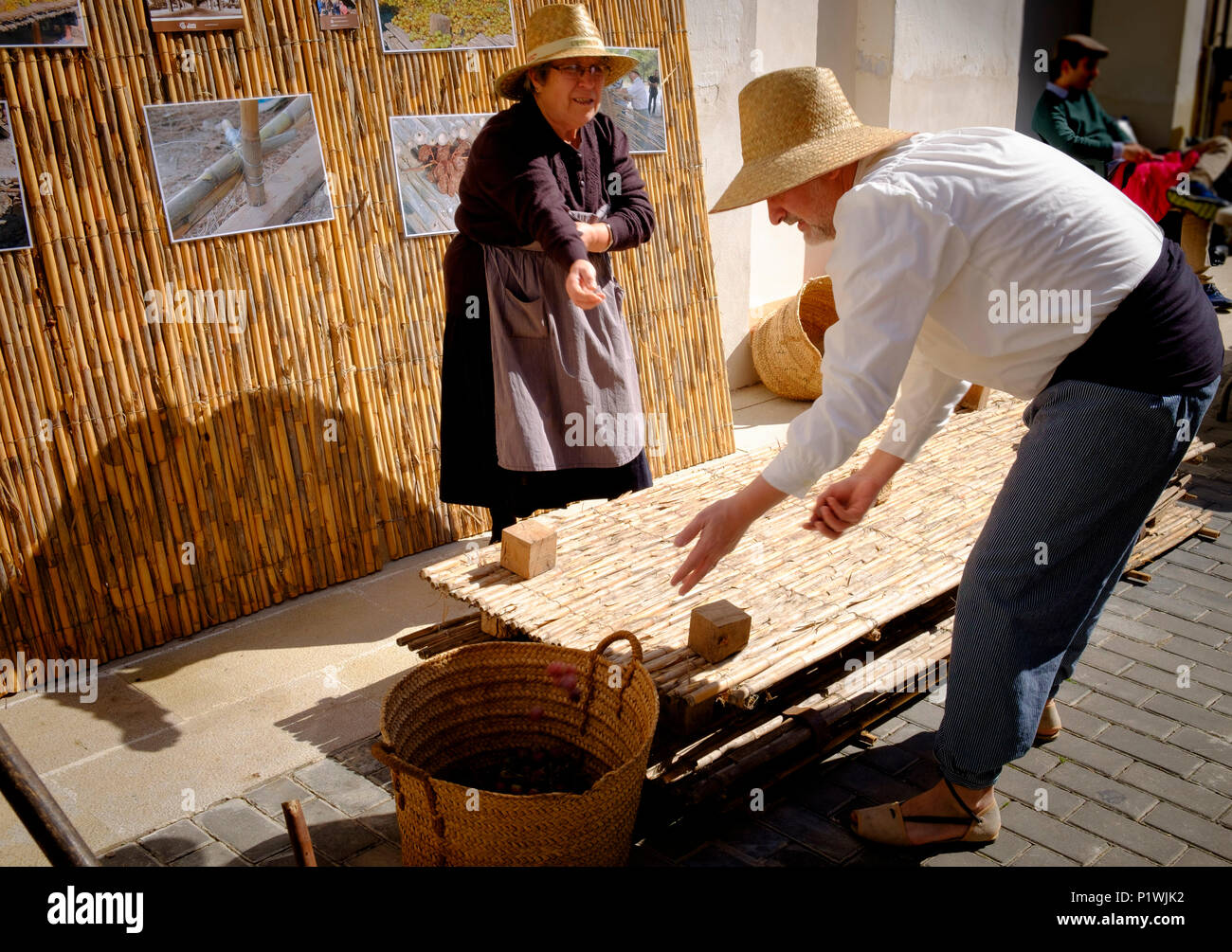 Man and woman dressed in traditional 19C costume with a hurdle used to dry the grapes to make raisins at a Spanish Fiesta - Stock Image