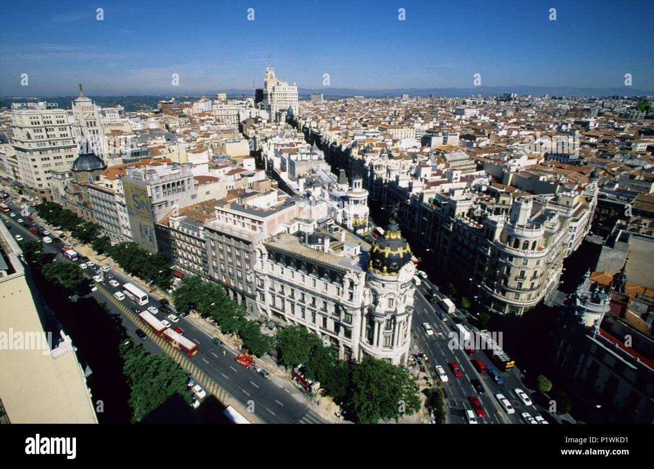 Downtown; crossing of Gran Vía and  Alcalá streets  (+ Metrópolis building). Stock Photo