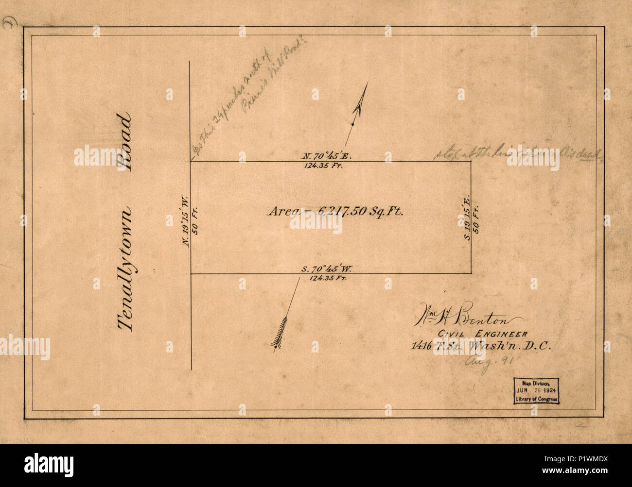 Cadastral survey map of a land tract fronting Tennallytown