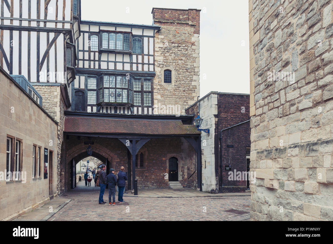 Old buildings and towers in the inner ward area of Royal Palace and Fortress of the Tower of London, a historic castle by River Thames London, England - Stock Image