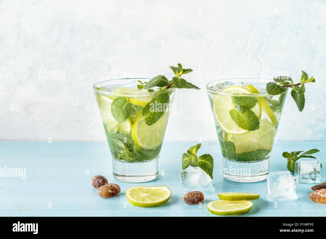 Mojito cocktail with lime and mint, selective focus. - Stock Image