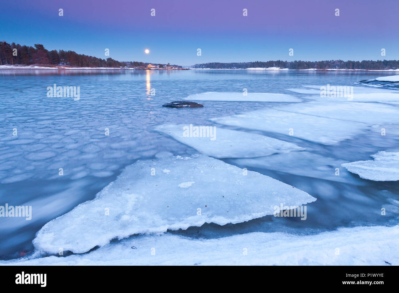 Rising moon on a cold winter evening by the Oslofjord, at Oven in Råde, Østfold Norway. Stock Photo