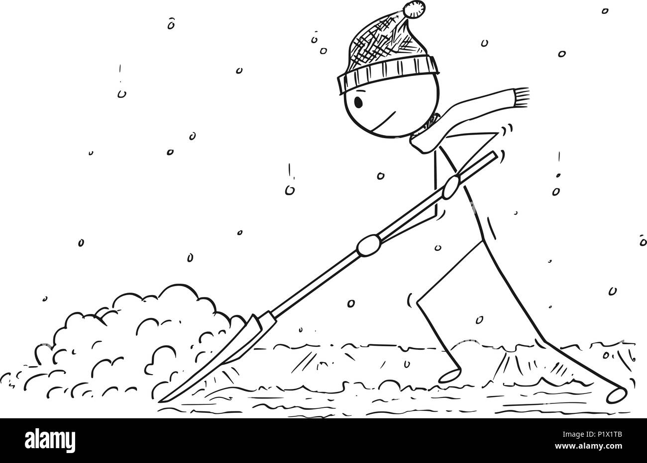 cartoon of man with snow pusher shoveling the snow stock vector art