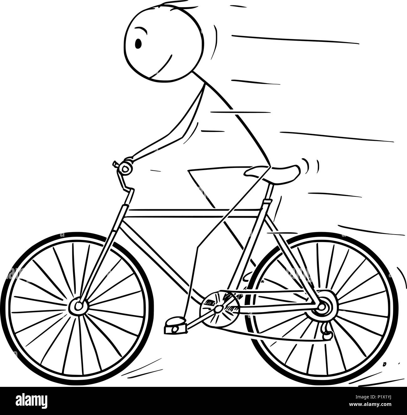 Cartoon of Man Riding on Bicycle - Stock Image