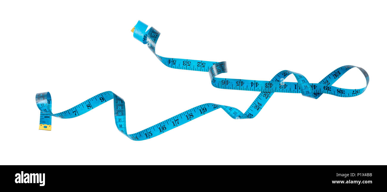 Measurement concept. Blue measure tape, cut out, isolated on white background, banner - Stock Image