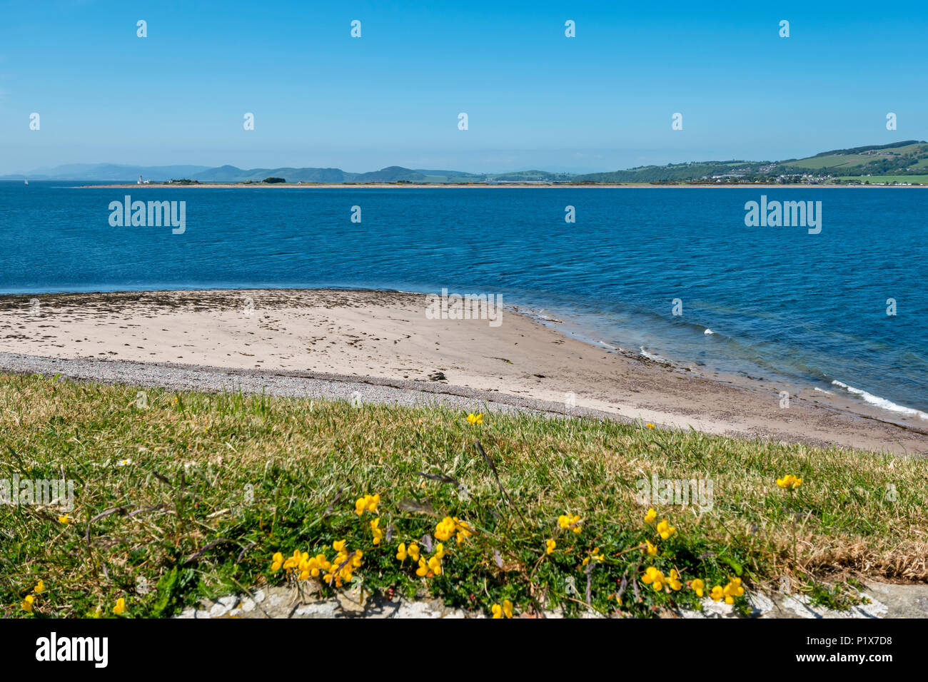 FORT GEORGE ARDERSIER INVERNESS SCOTLAND VIEW FROM FORT ACROSS MORAY FIRTH TOWARDS LIGHTHOUSE ON CHANONRY POINT - Stock Image