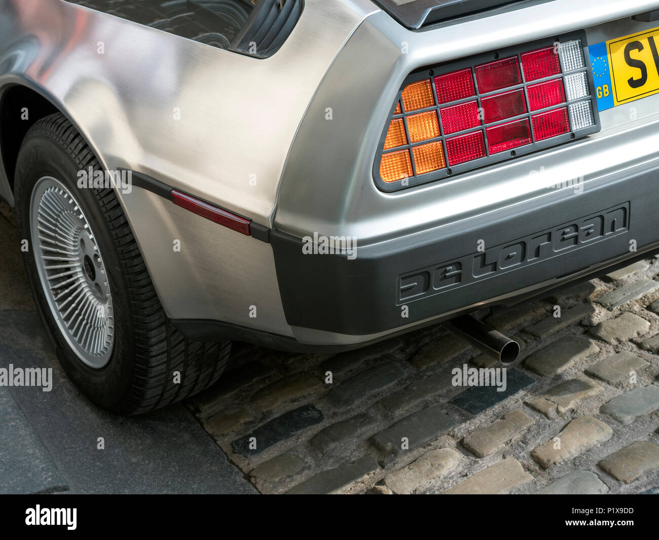 Rear quarter of 1981 DeLorean sports car - Stock Image