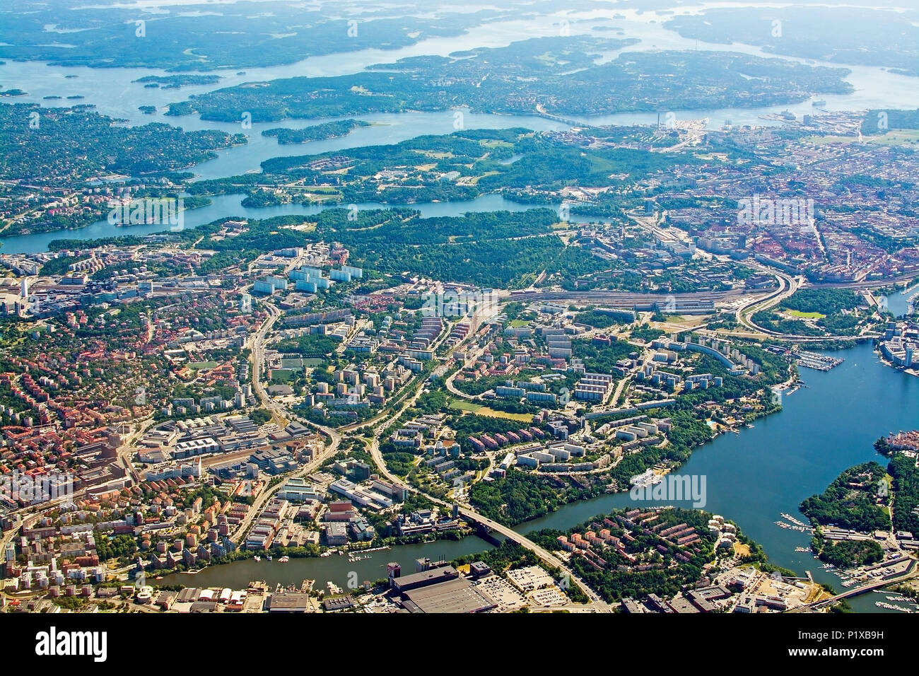 STOCKHOLM, SWEDEN - JUNE 1, 2018: Aerial shot over Solna Lidingo Sweden during inflight to Arlanda airport on a sunny day on June 1, 20108 in Stockhol Stock Photo