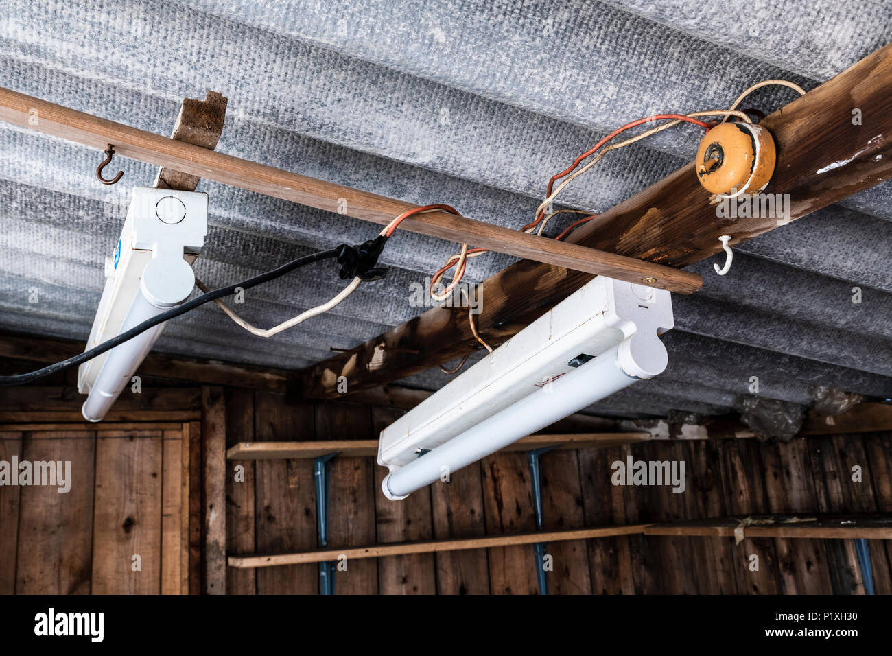 Faulty Wiring Stock Photos Images Alamy Diy Electrical Shed Dangerous Electric In An Old Delapidated Image