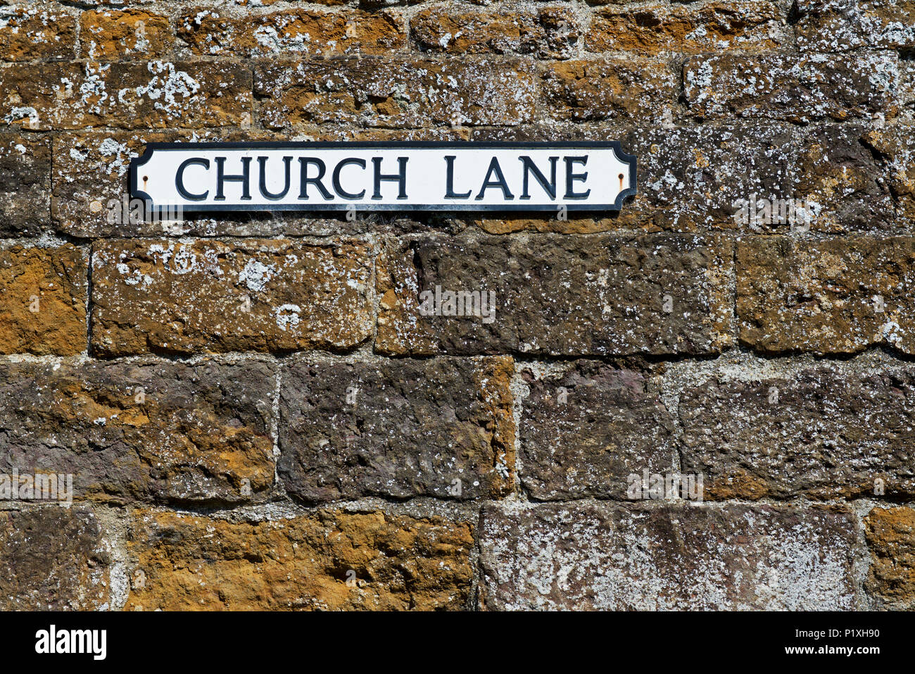 Sign: Church Lane, England UK - Stock Image