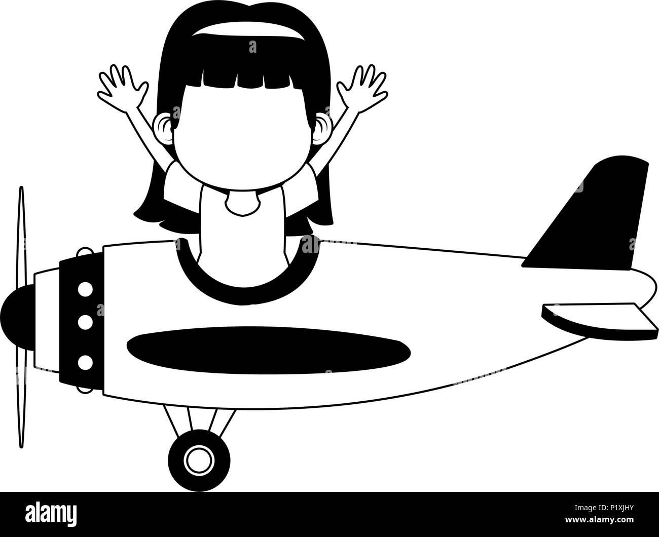Girl flying on vintage airplane in black and white - Stock Image