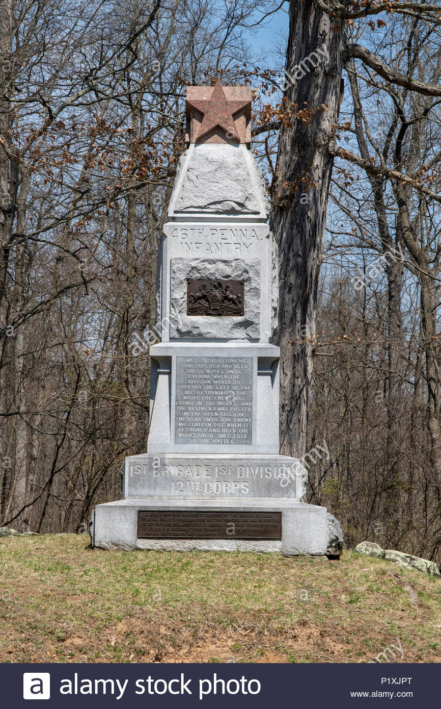 A monument to the 46th Pennsylvania Infantry, along Slocum Avenue on the east side of  the Gettysburg battlefield in Pennsylvania. - Stock Image