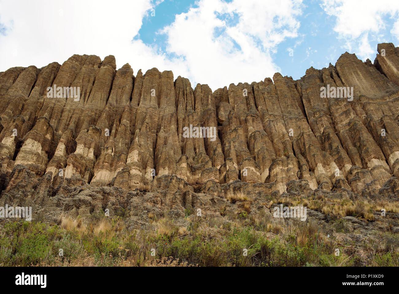 Nature designed wonderful clay works of art carved by wind erosion, rain, sun, etc. Valle de las Animas (La Paz); Bolivia. - Stock Image