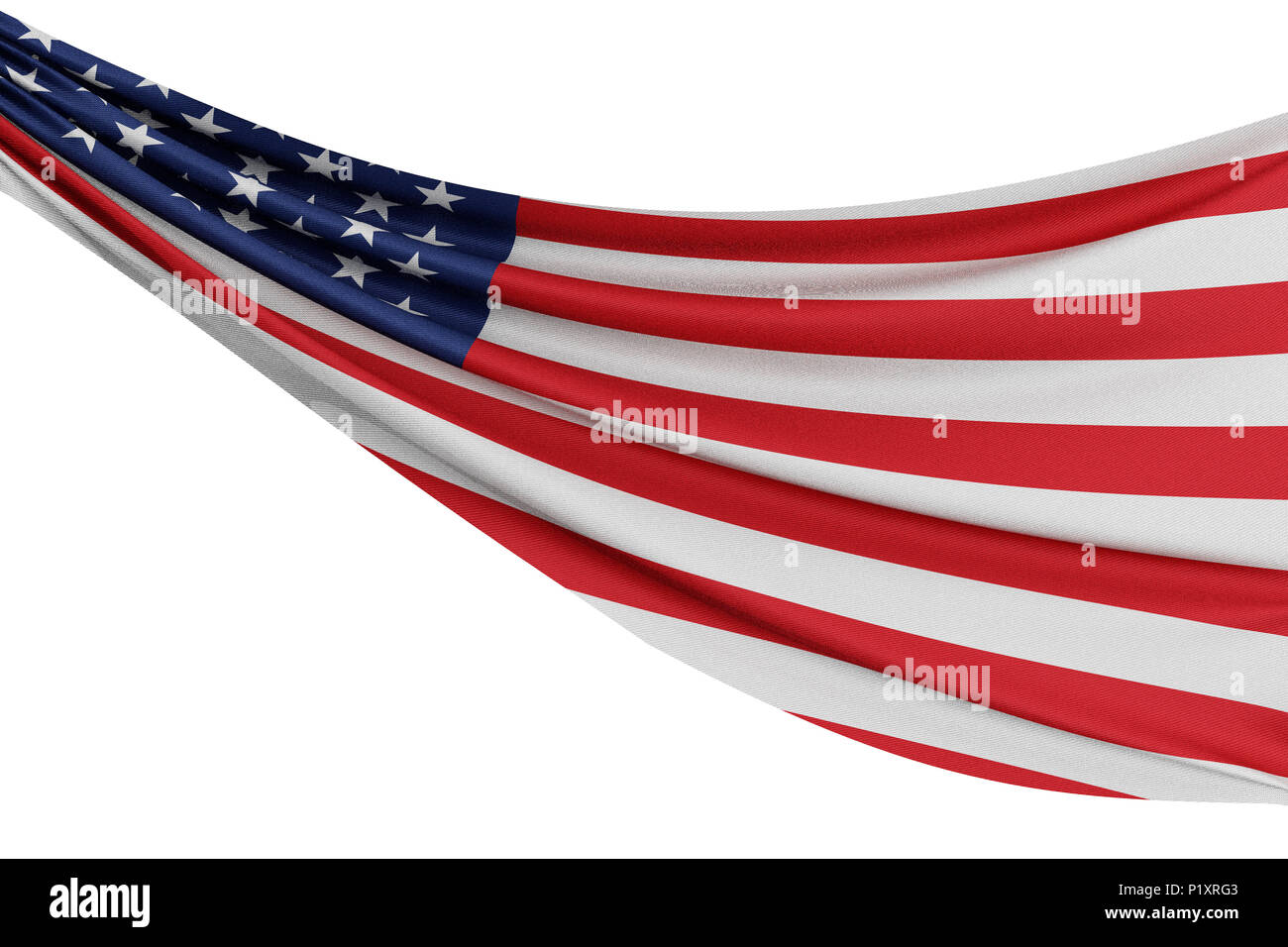 The national flag of United States. Waving fabric flag with texture draped on a plain white background. 3D Rendering Stock Photo