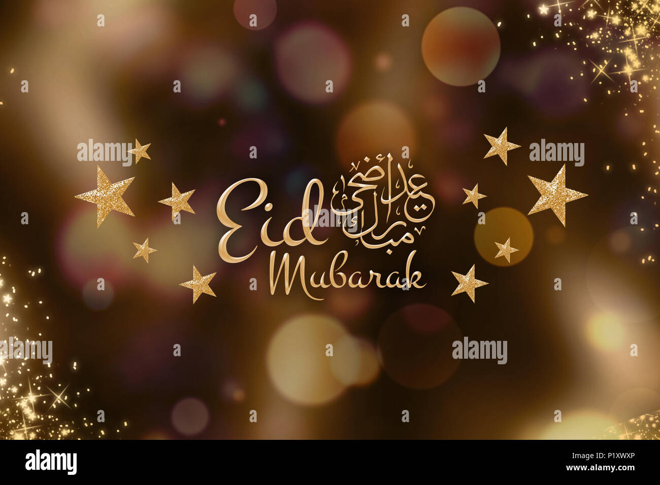 Eid Mubarak Greetings In Golden Background Arabic Calligraphy
