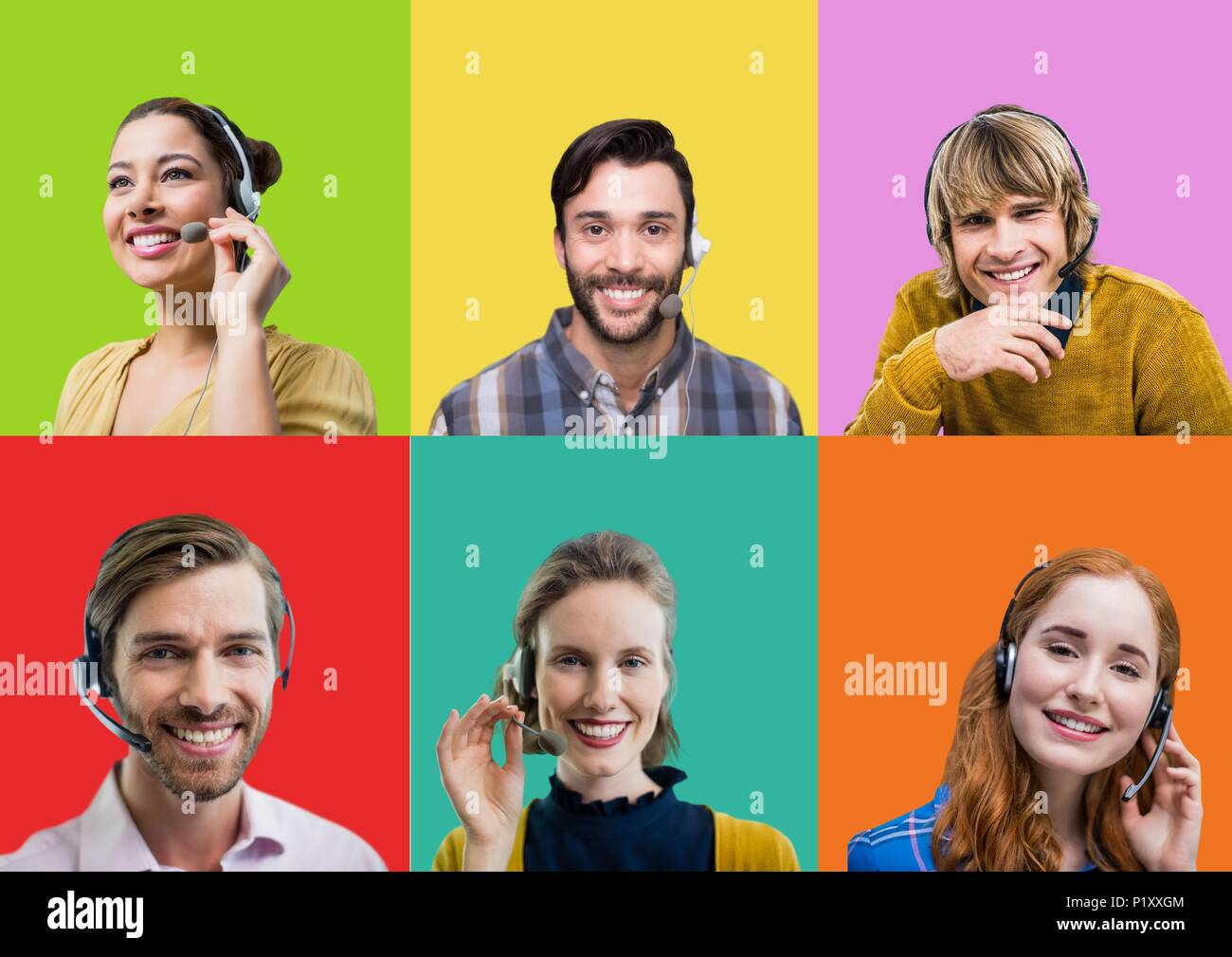 Call Center customer service people in colorful square sections - Stock Image