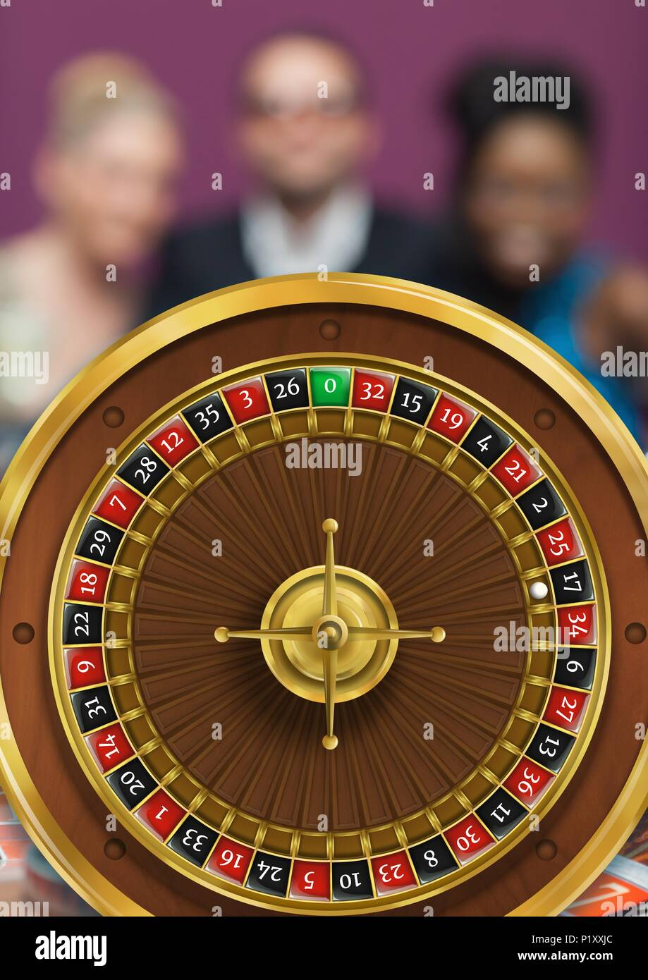 ROulette wheel and people in background - Stock Image