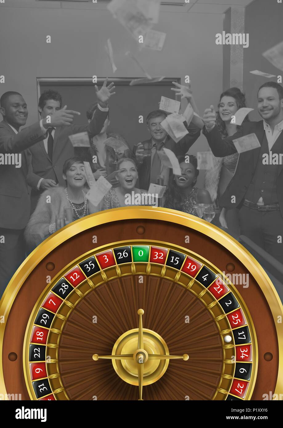 Roulette wheel with group of people celebrating - Stock Image