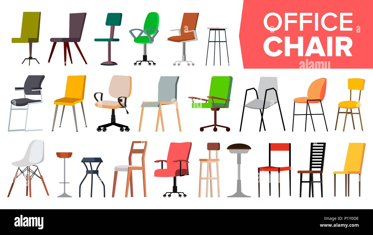 Chair Set Vector. Office Modern Desk Chairs. Different Types. Interior Seat  Design Element. Isolated Furniture Illustration