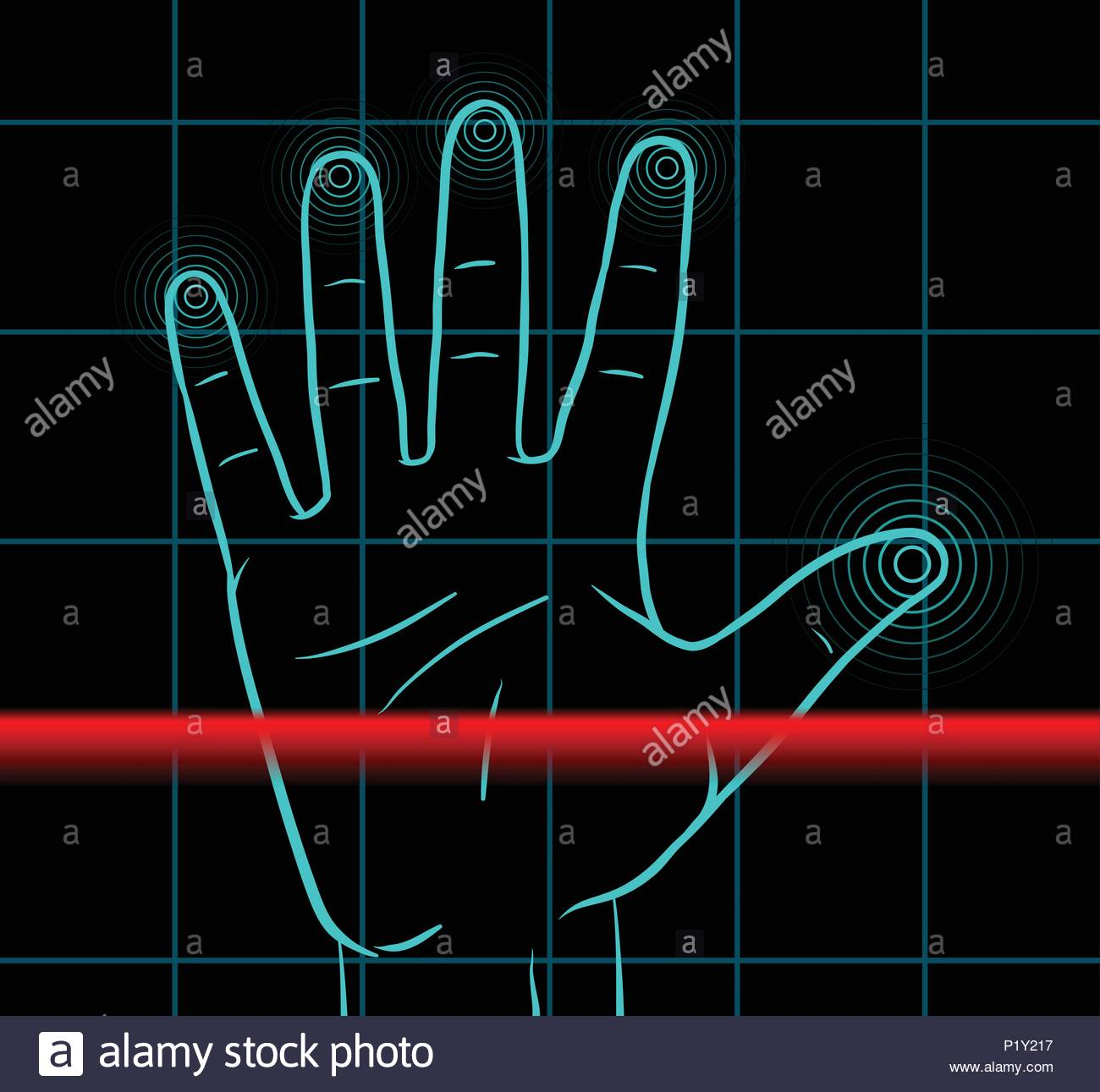 Red laser scanning the hand of a man with burned off finger prints - Stock Image