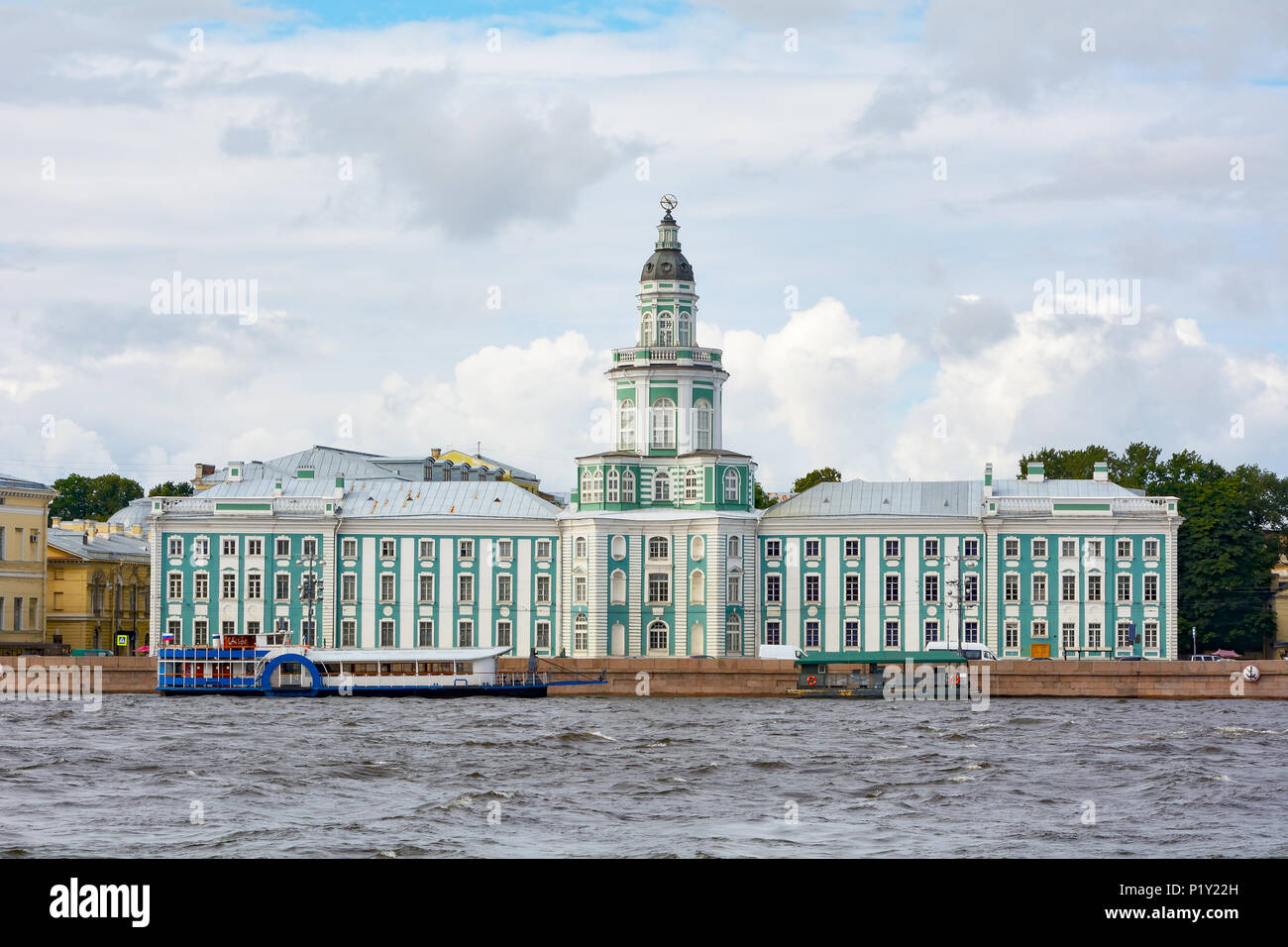 St. Petersburg, view of the old building of the Kunstkammer across the Neva river - Stock Image