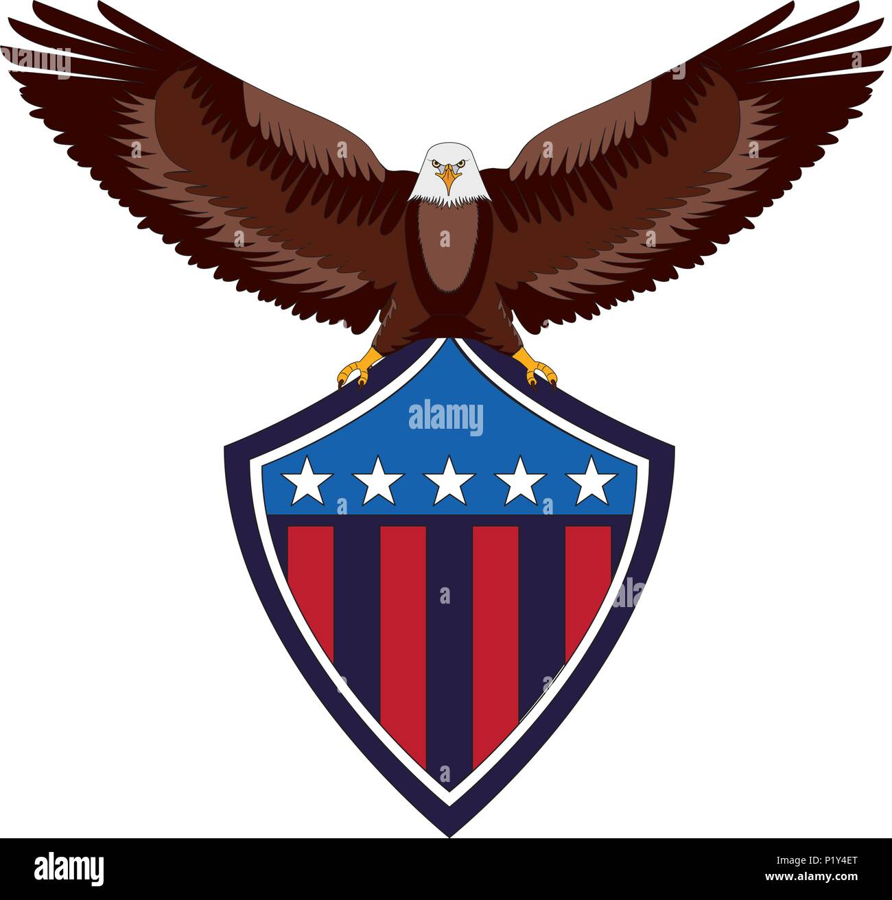 American Eagle Flag Shield National Symbol Vector Illustration Stock