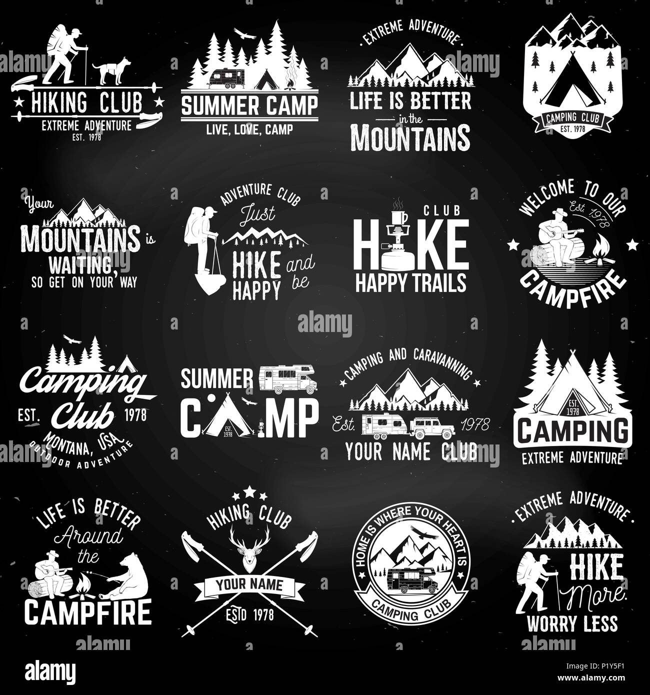 summer camp with design elements on the chalkboard vector