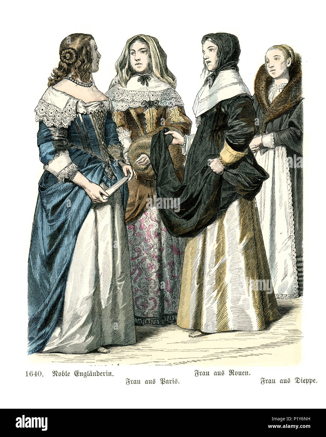 Vintage engraving of History of Fashion, Womens dresses of 17th Century.  Noble english woman, women of Paris, Rouen and Dieppe, France - Stock Image