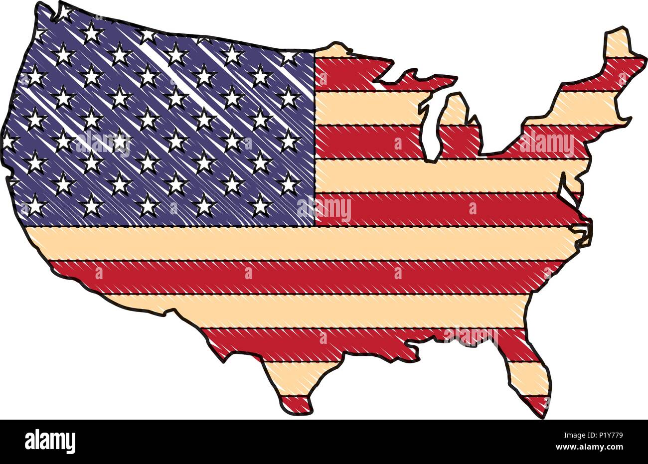 united states of america flag in map vector illustration drawing Stock Vector