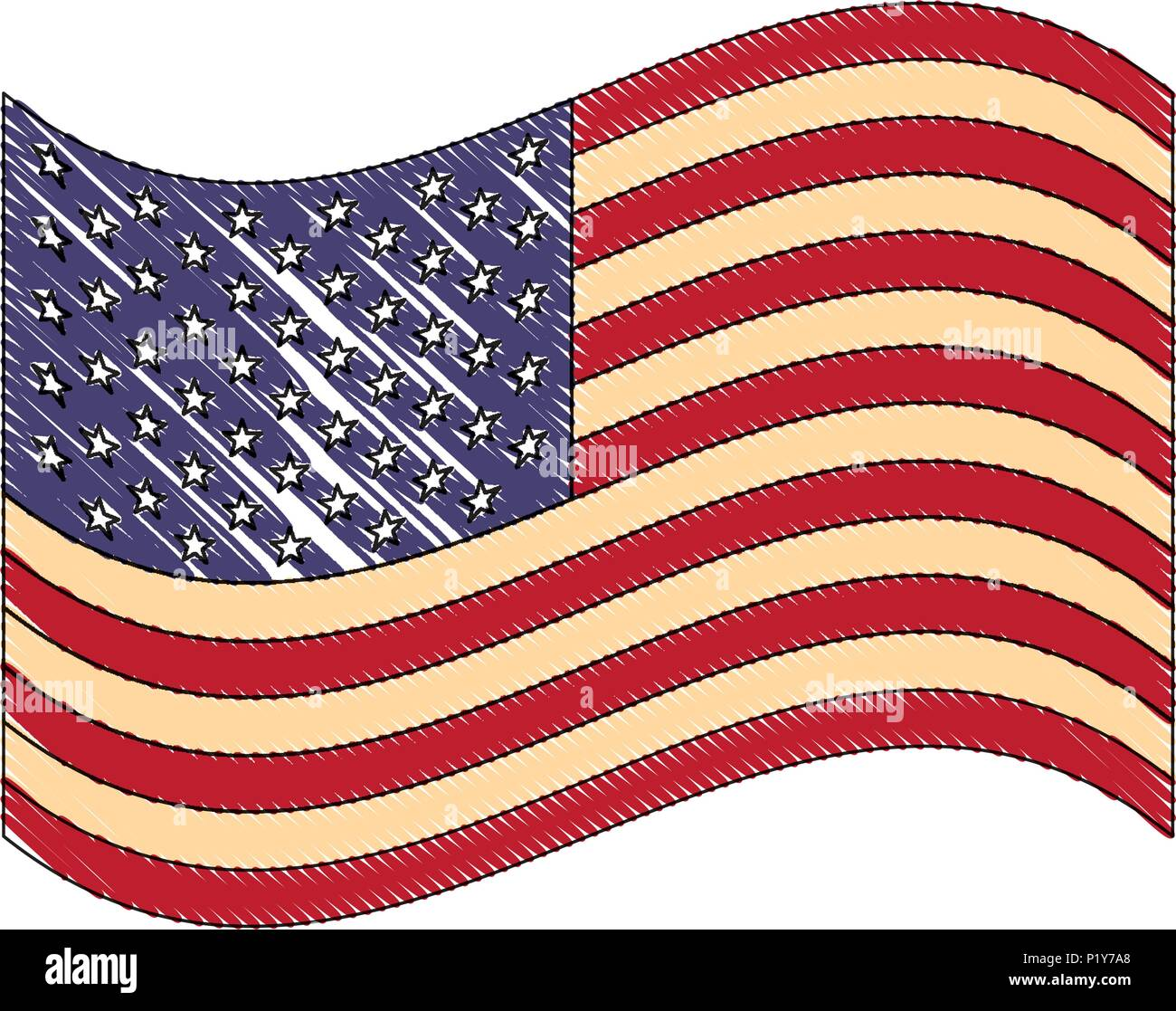 Waving United States Of America Flag Vector Illustration Drawing