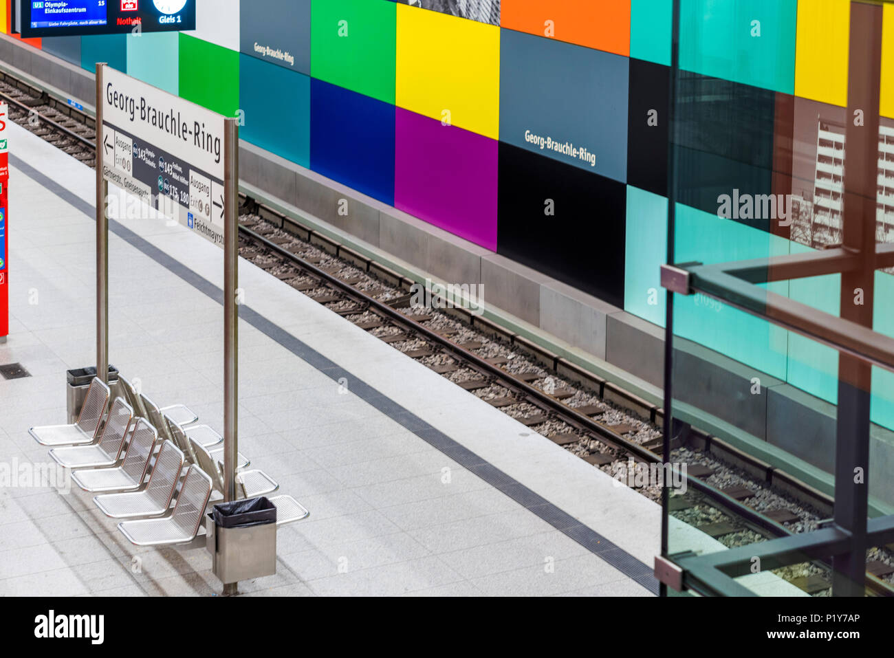 Subway Station - Georg Brauchle Ring - München, Germany Stock Photo