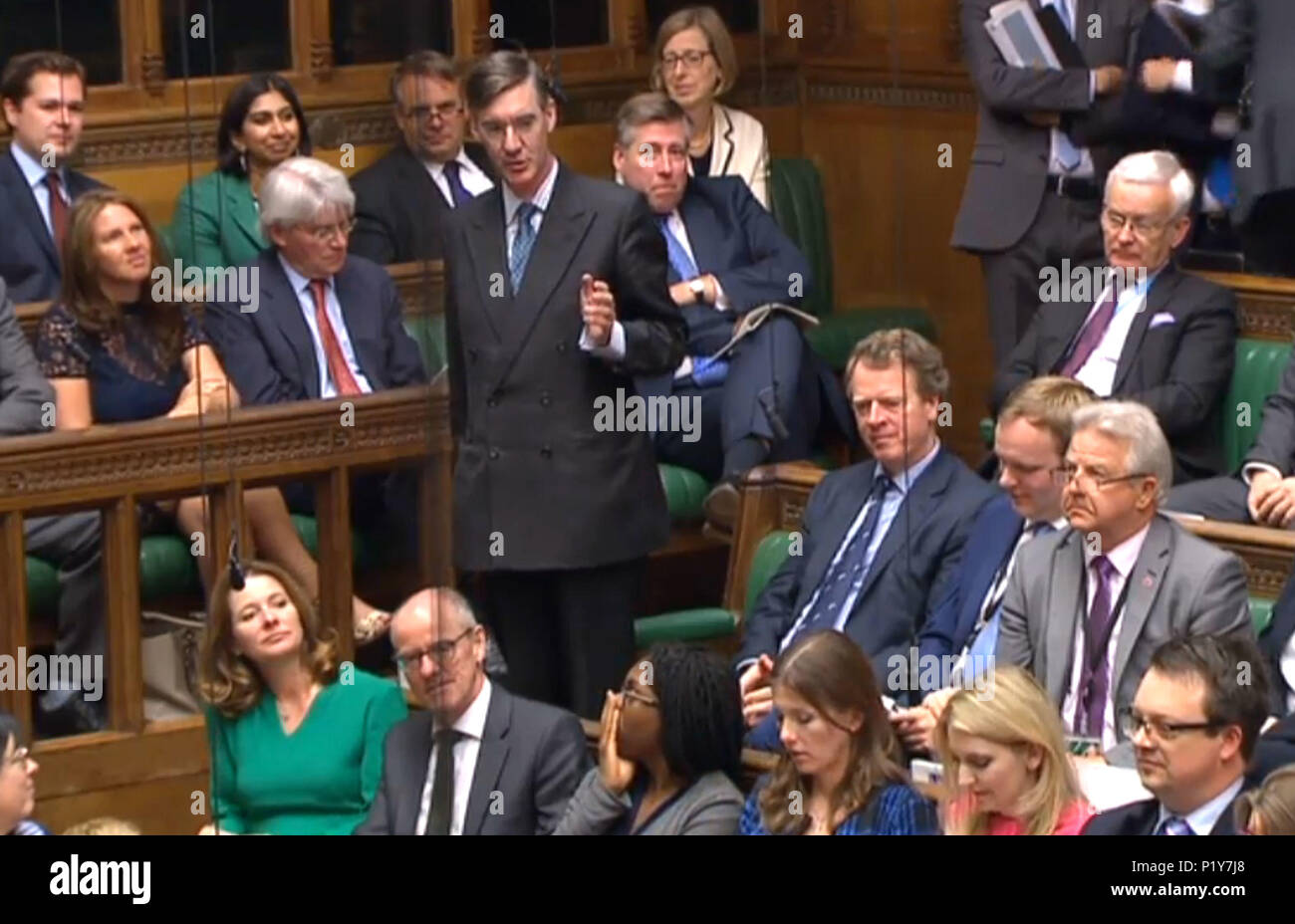 Conservative MP Jacob Rees-Mogg speaks during Prime