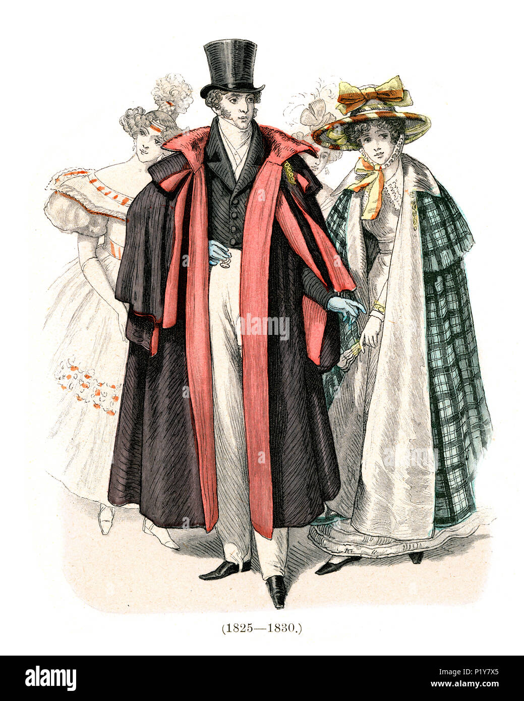 Vintage engraving of History of Fashion, Costumes of Germany early 19th Century.  High society man in cape and top hat, women in hat and cloak 1825 to - Stock Image