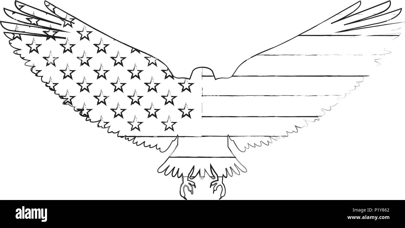 United States Of America Flag In Eagle Silhouette Vector