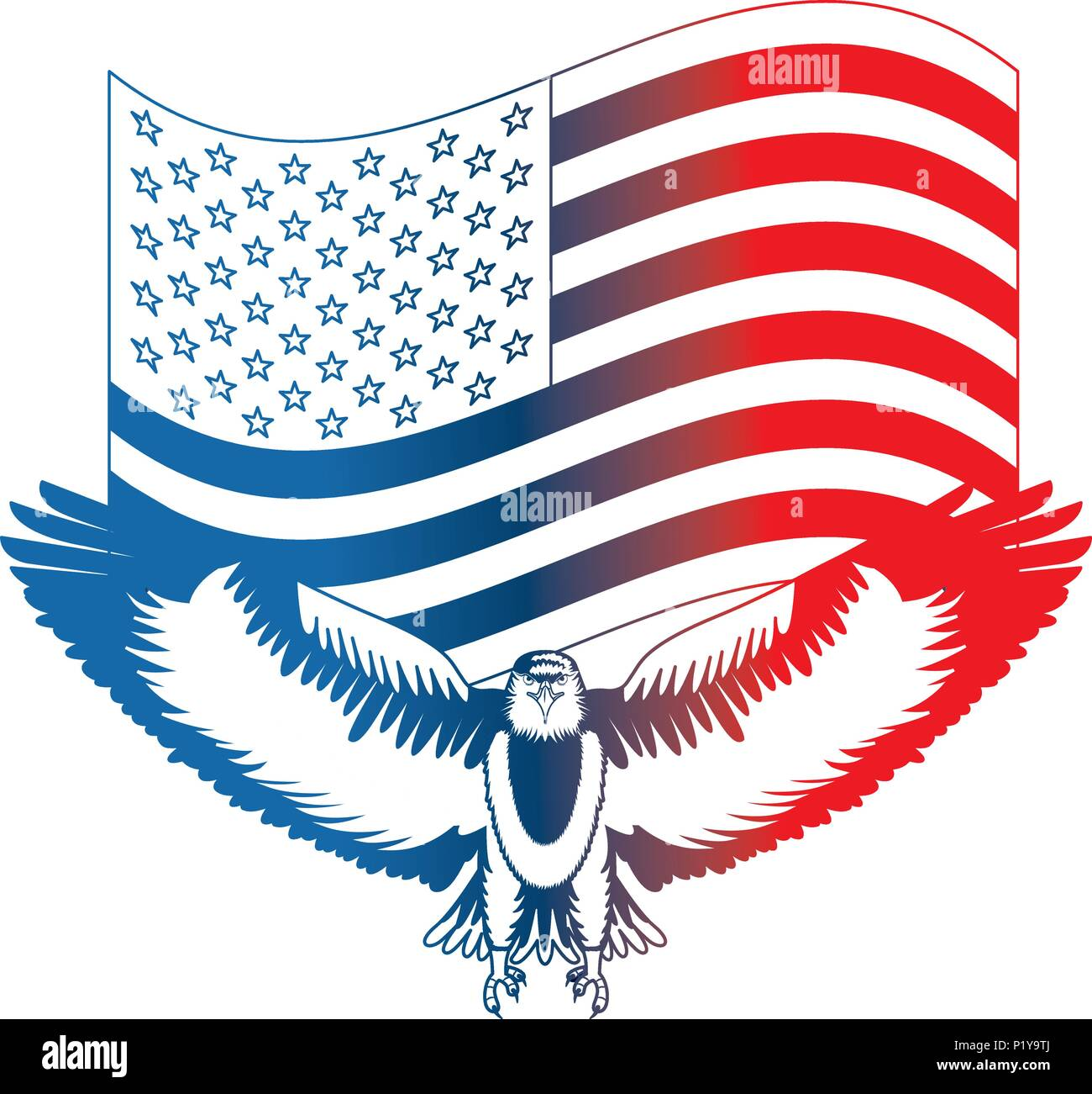 American Eagle Symbol Waving Flag National Vector Illustration Stock