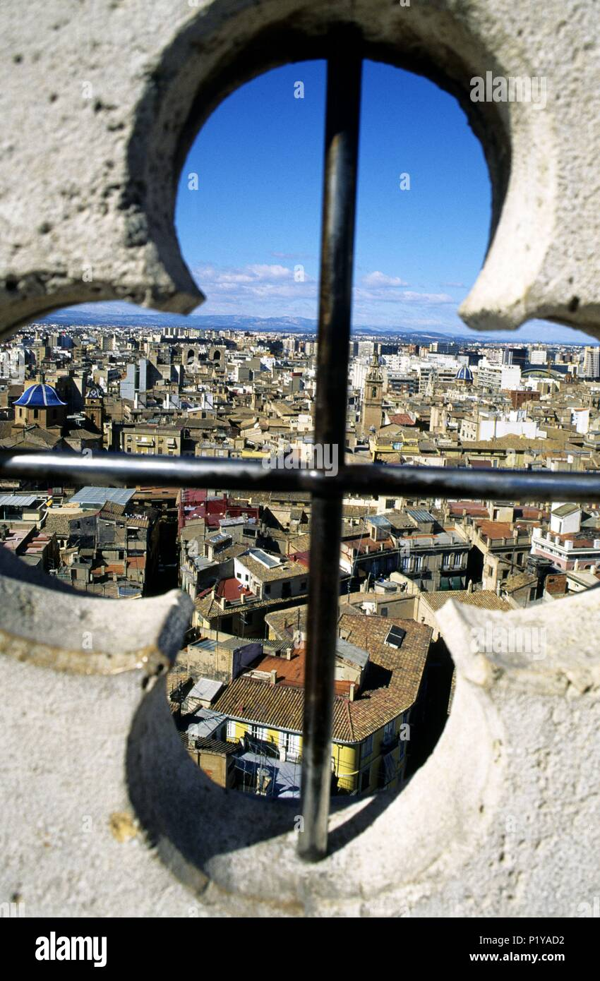 old city view from the Micalet / Miguelete (belfry). Stock Photo