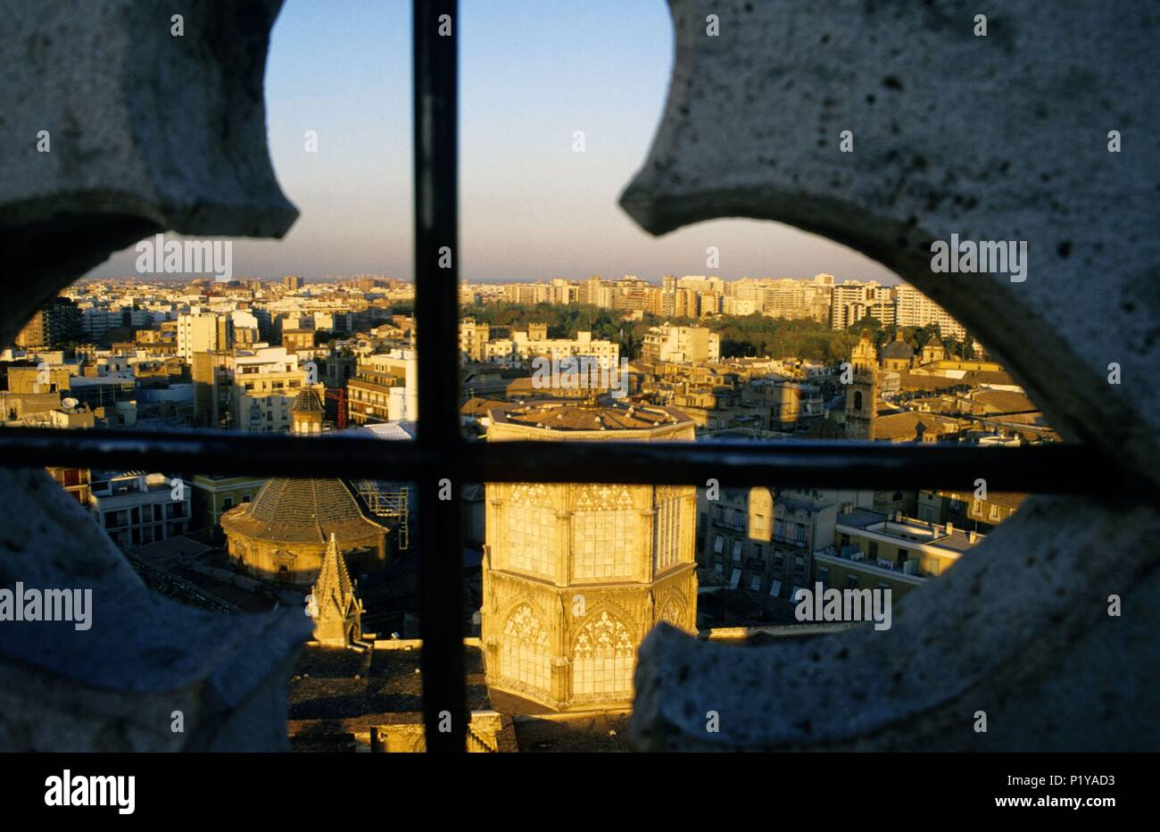 Cathedral and old city view from the Micalet / Miguelete (belfry). Stock Photo