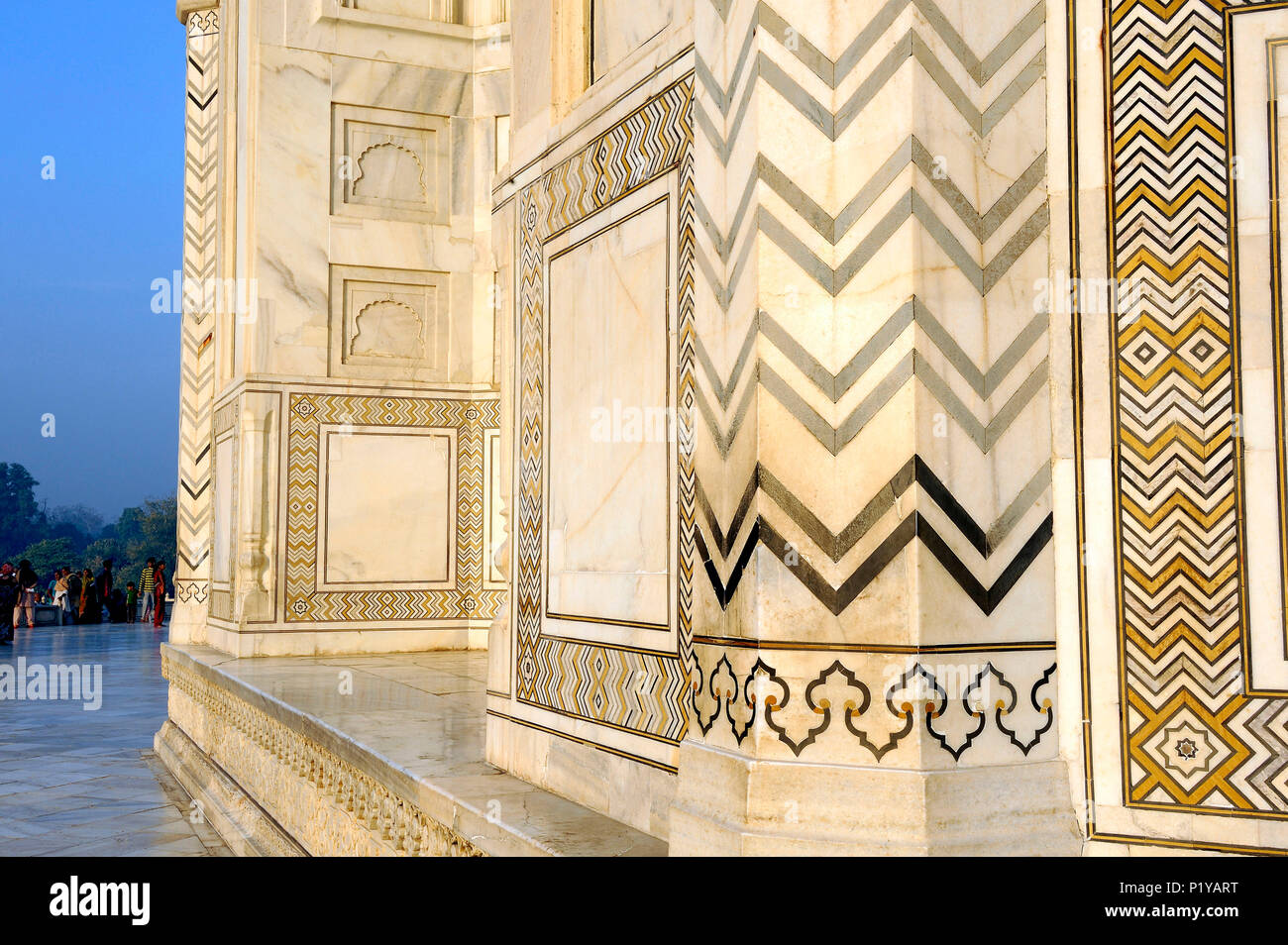 India, Agra, Taj Mahal, close-up view of encrusted hard stones on ...