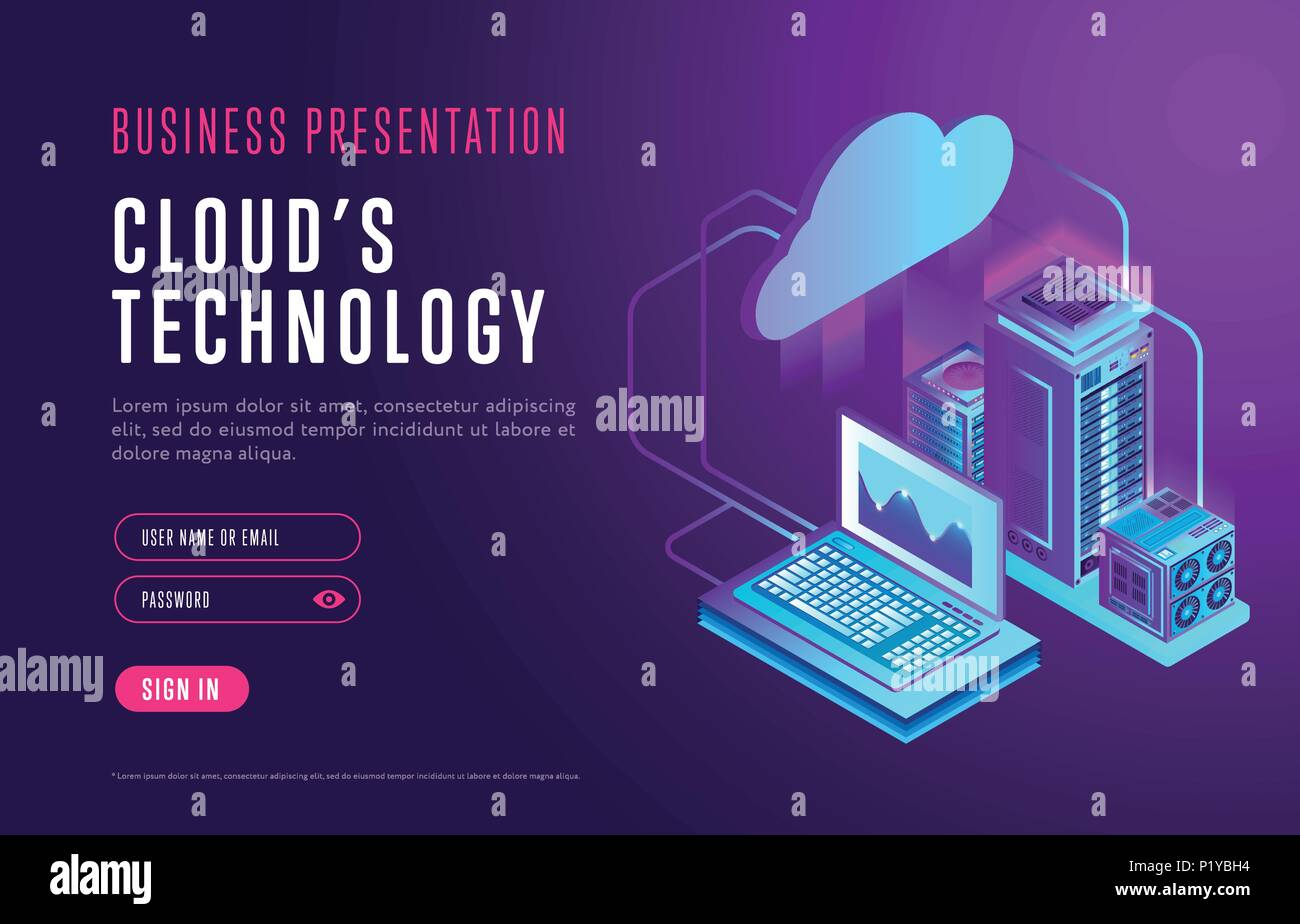 Webpage design about cloud database technology - Stock Image