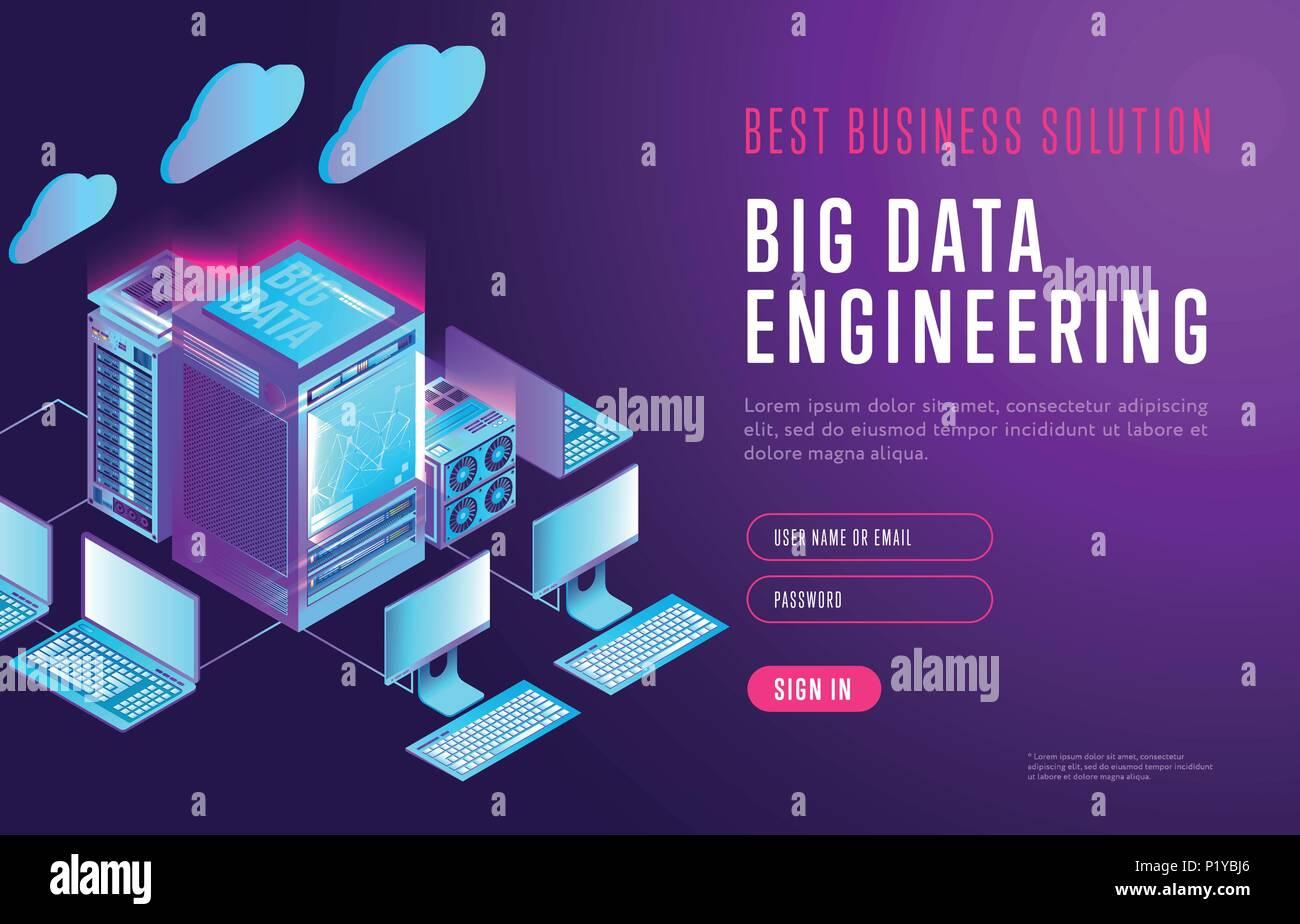 Bright design of big data webpage - Stock Image