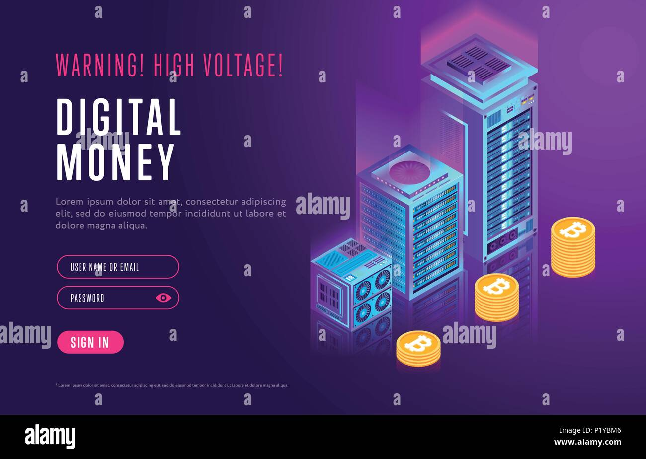 Webpage design with cryptocurrency elements - Stock Image