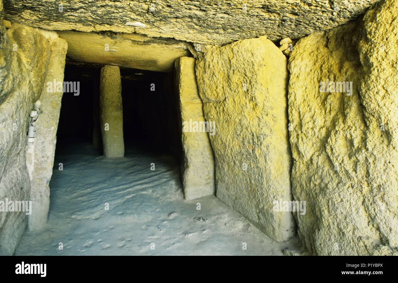 "Antequera, ""Menga"" dolmen (megalític, prehistoric architecture) 2500 b.c. Stock Photo"