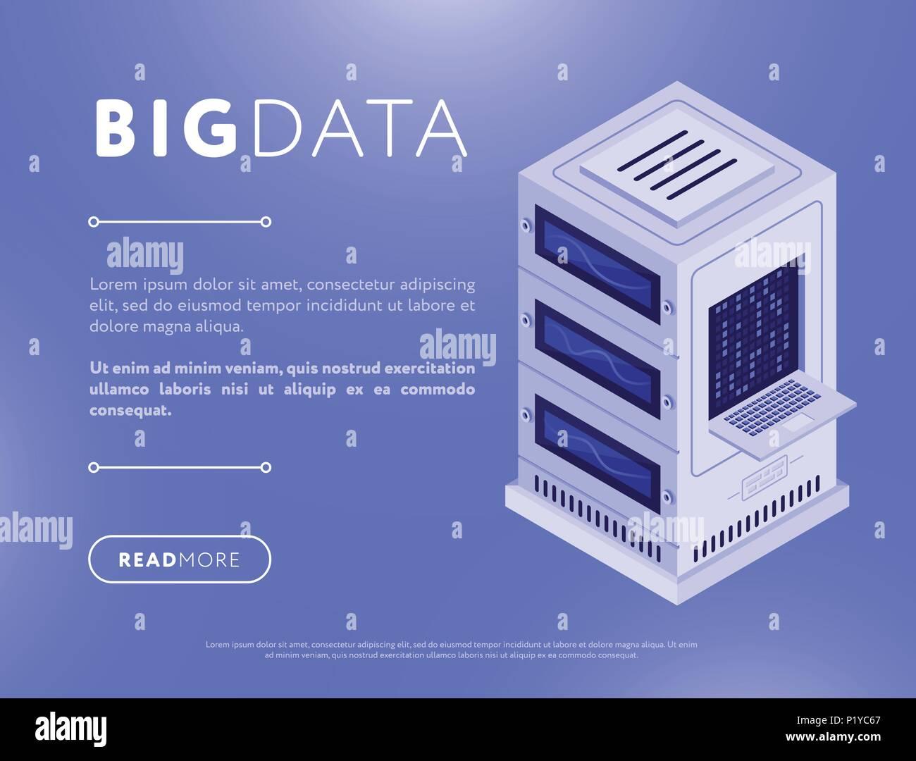 Colorful database webpage design - Stock Image