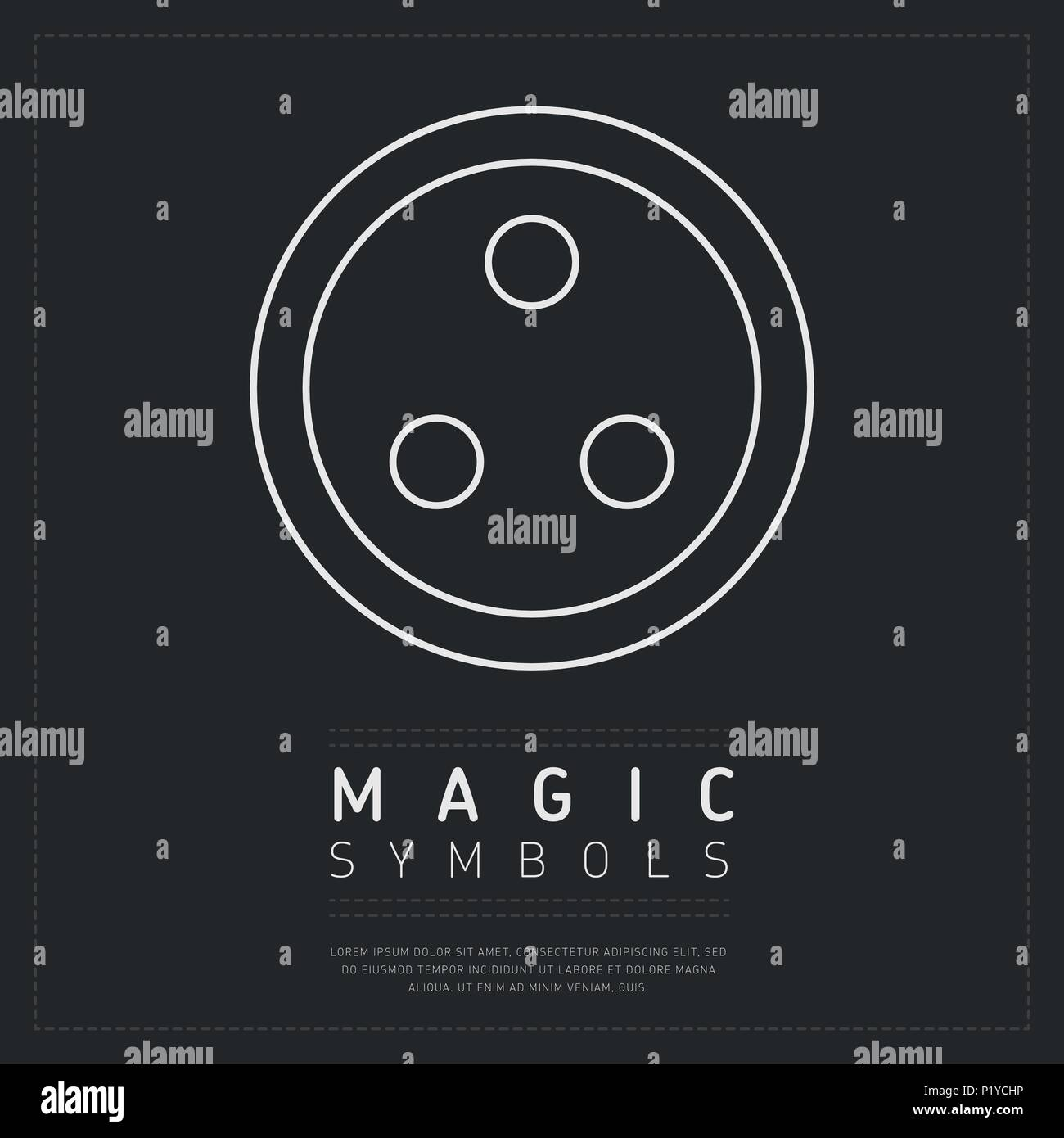 Round magical symbol on gray - Stock Vector